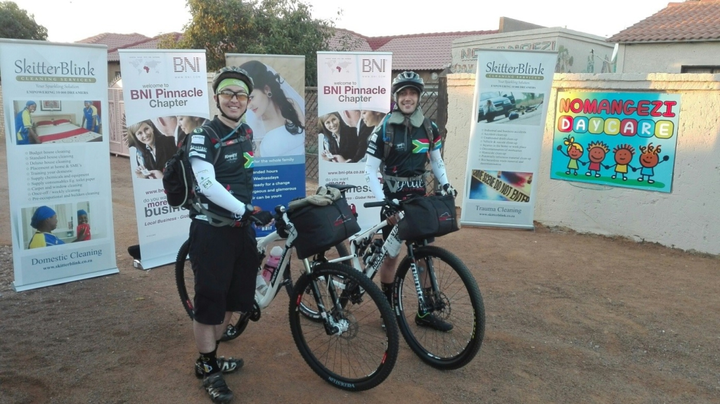 Christiaan Jansen and Jacques du Toit ready to start the 1809km cycle to Cape Town